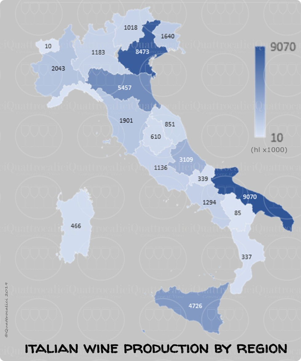 produzione vino per regione cartina