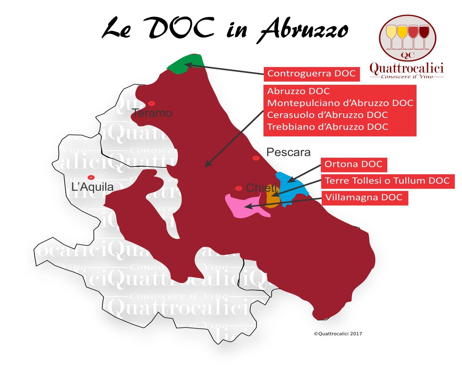 Mappa Denominzioni DOC Abruzzo