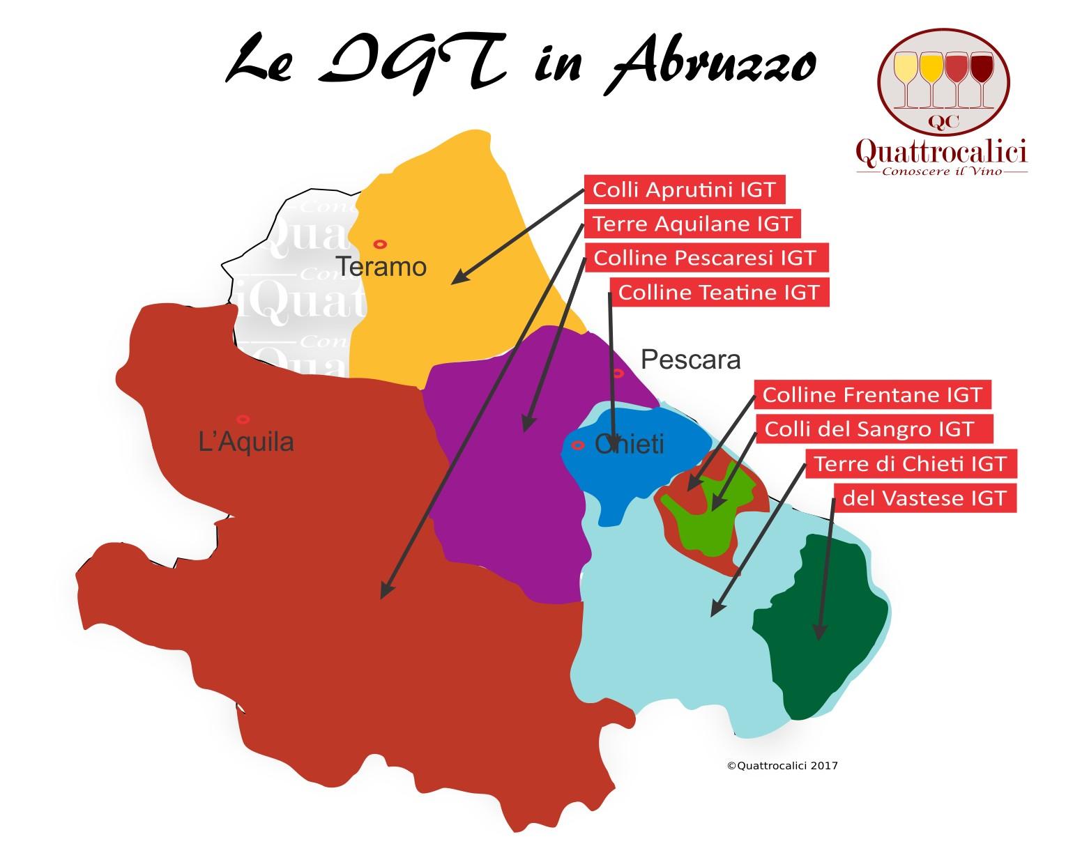Mappa Denominzioni IGT Abruzzo