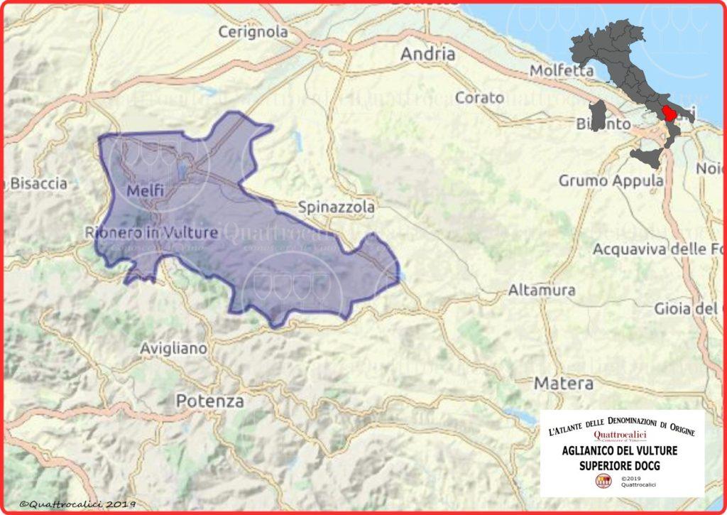 Aglianico del Vulture superiore DOCG cartina