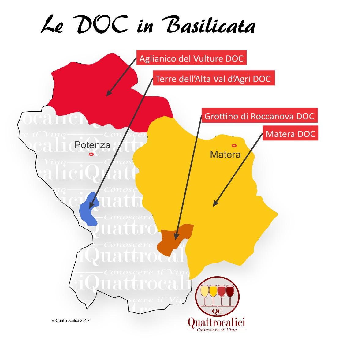 Mappa Denominzioni DOC Basilicata