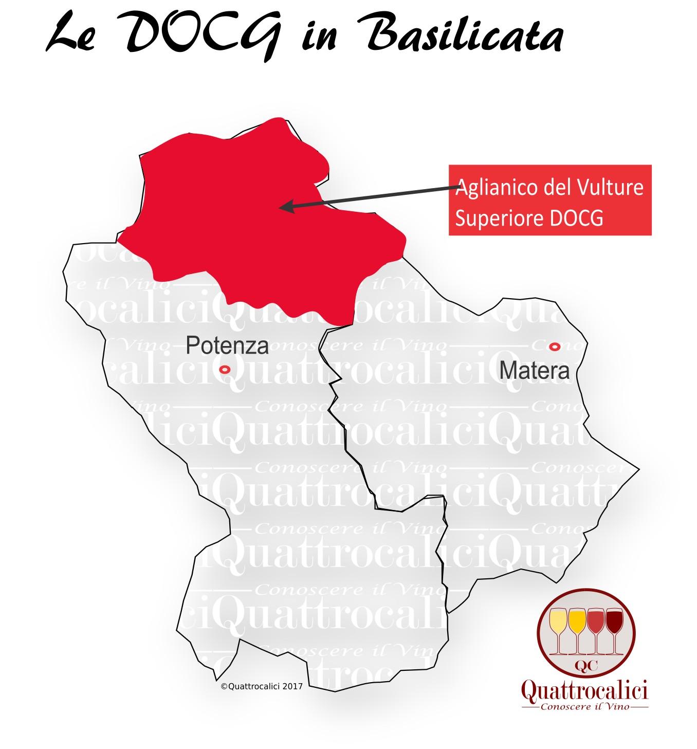 Mappa Denominzioni DOCG Basilicata