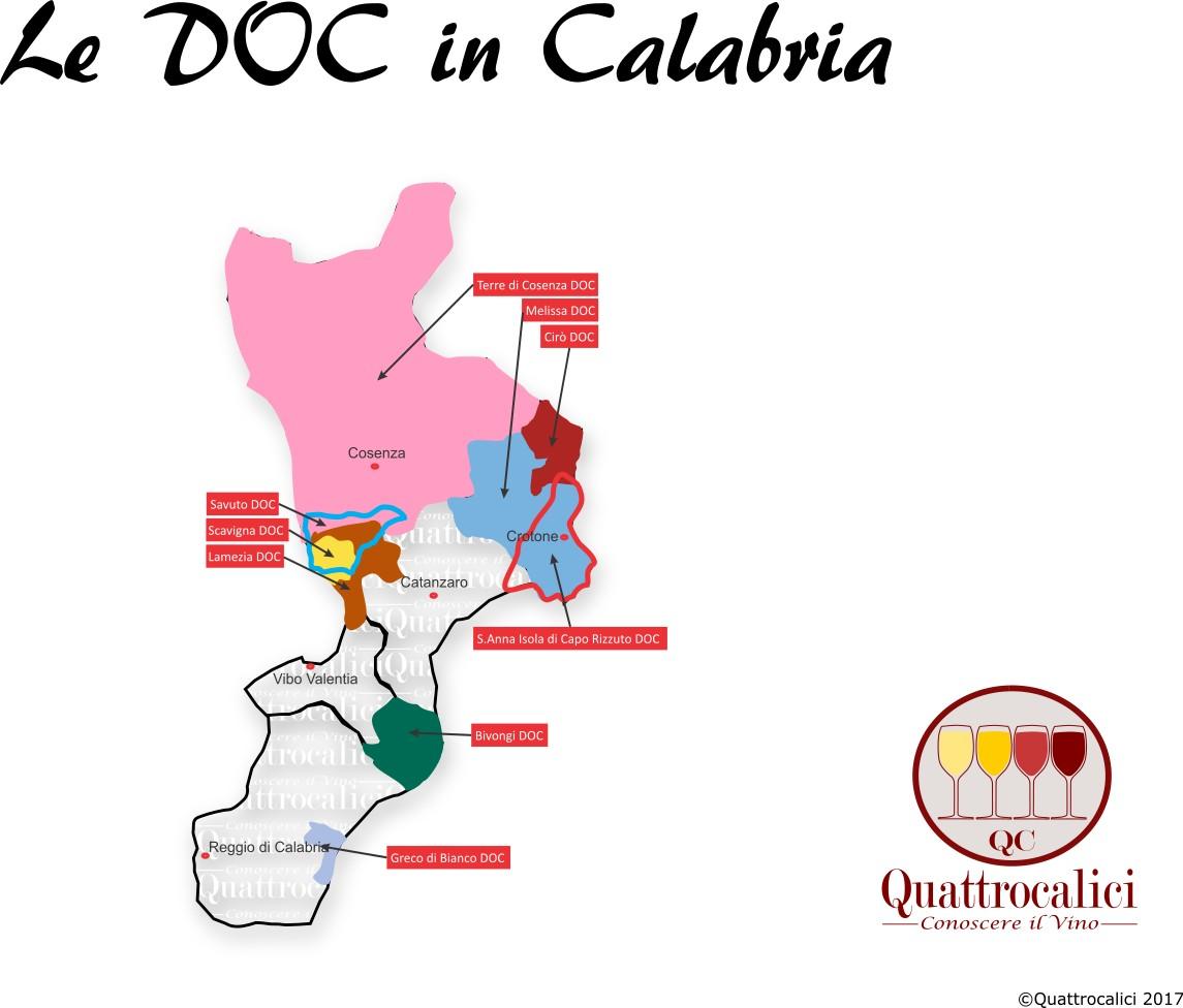 Mappa Denominazioni DOC Le Denominazioni di Origine della Calabria
