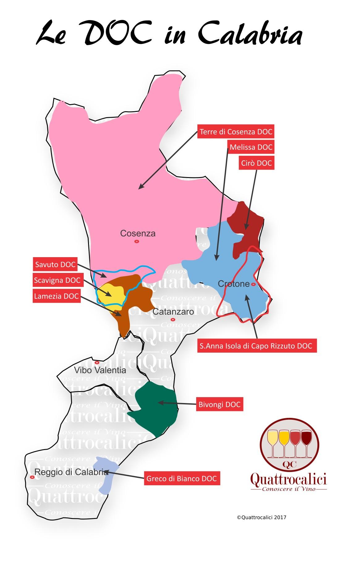 Mappa Denominzioni DOC Calabria