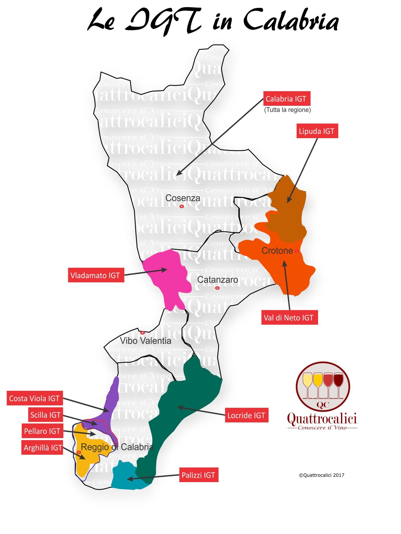 Mappa Denominazioni IGT Le Denominazioni di Origine della Calabria