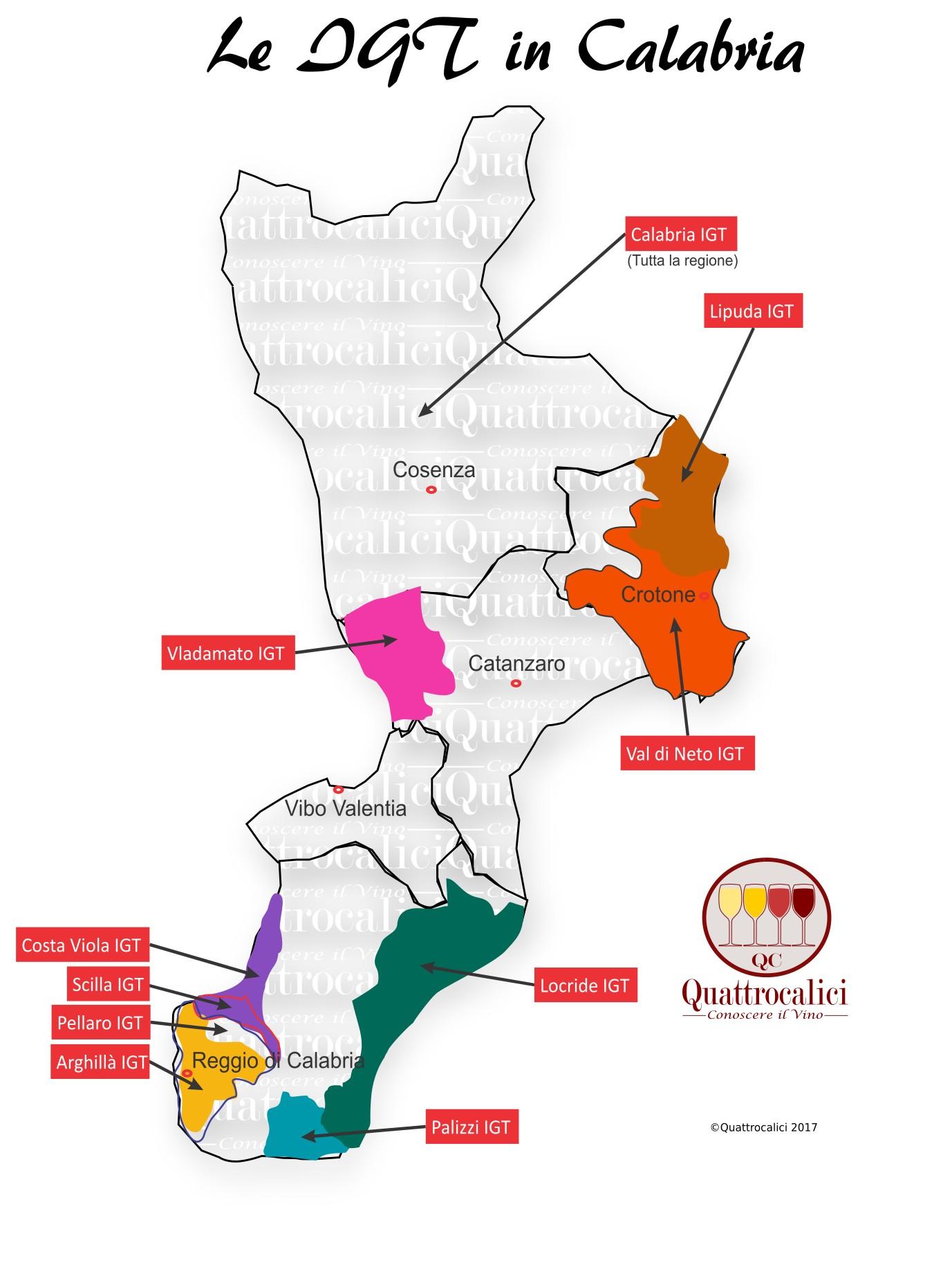 Mappa Denominzioni IGT Calabria