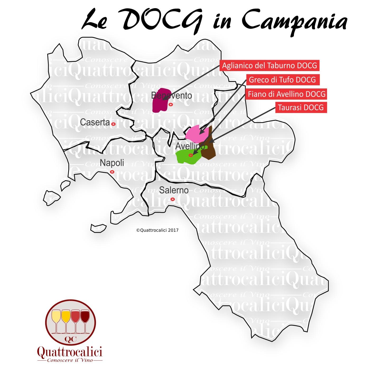 Mappa Denominazioni DOCG Le Denominazioni di Origine in Campania