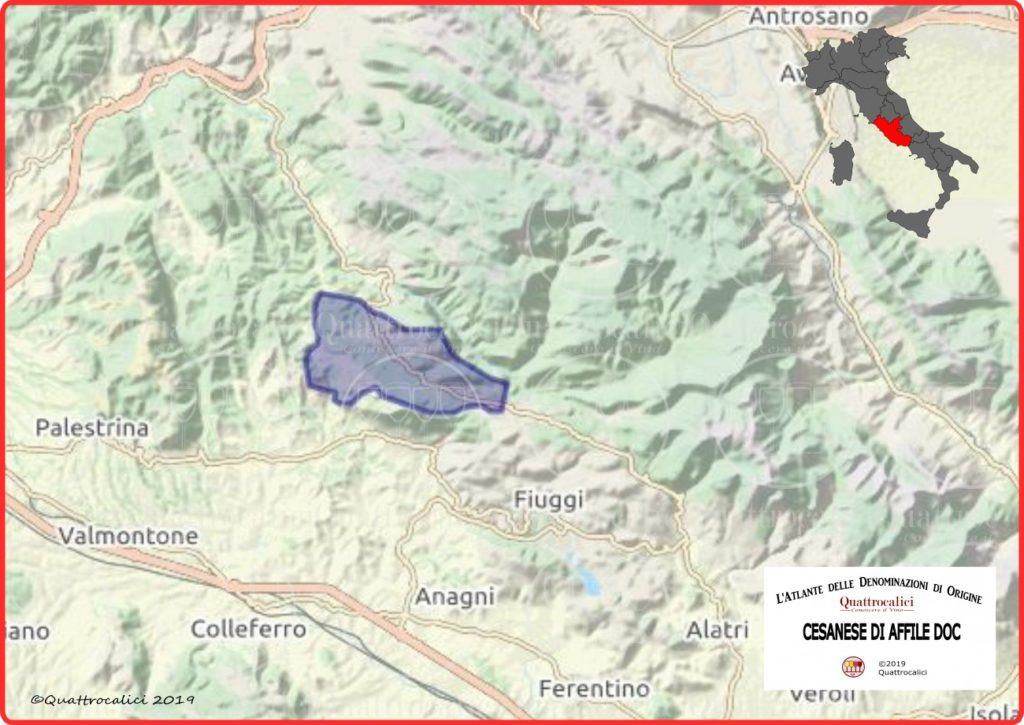 Cesanese di Affile DOC Cartina Denominazione