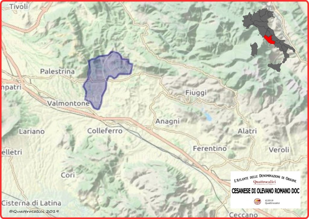 Cesanese di Olevano Romano DOC Cartina Denominazione