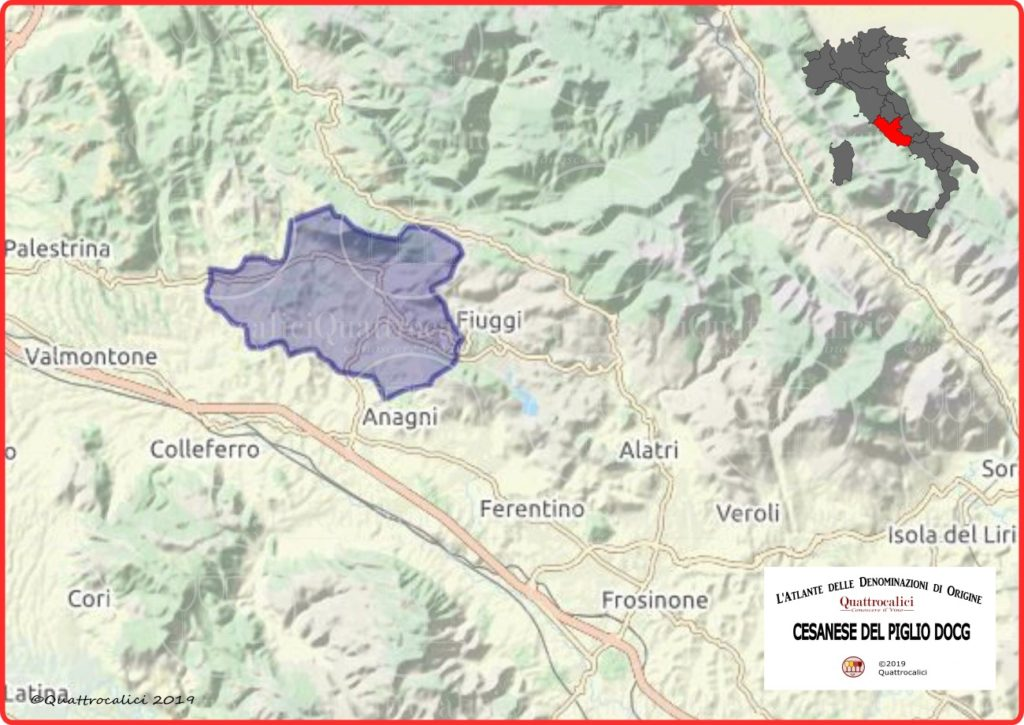 Cesanese del Piglio DOCG Cartina