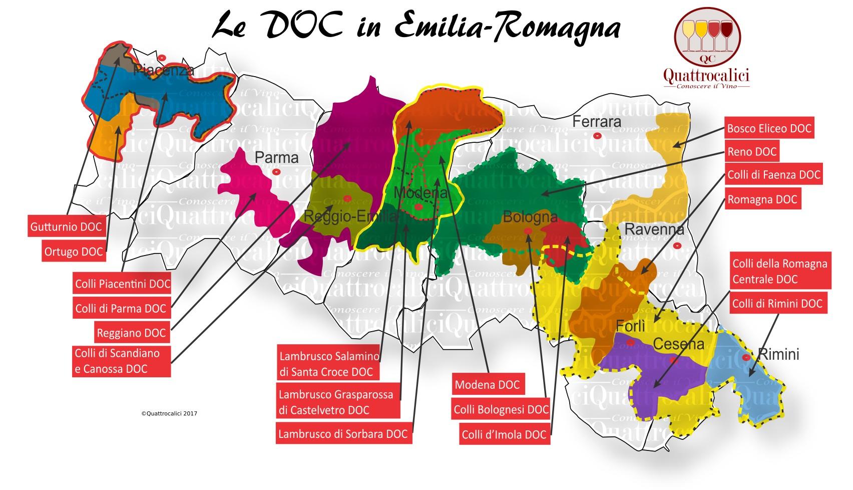 Mappa Denominazioni DOC Le Denominazioni di Origine in Emilia-Romagna
