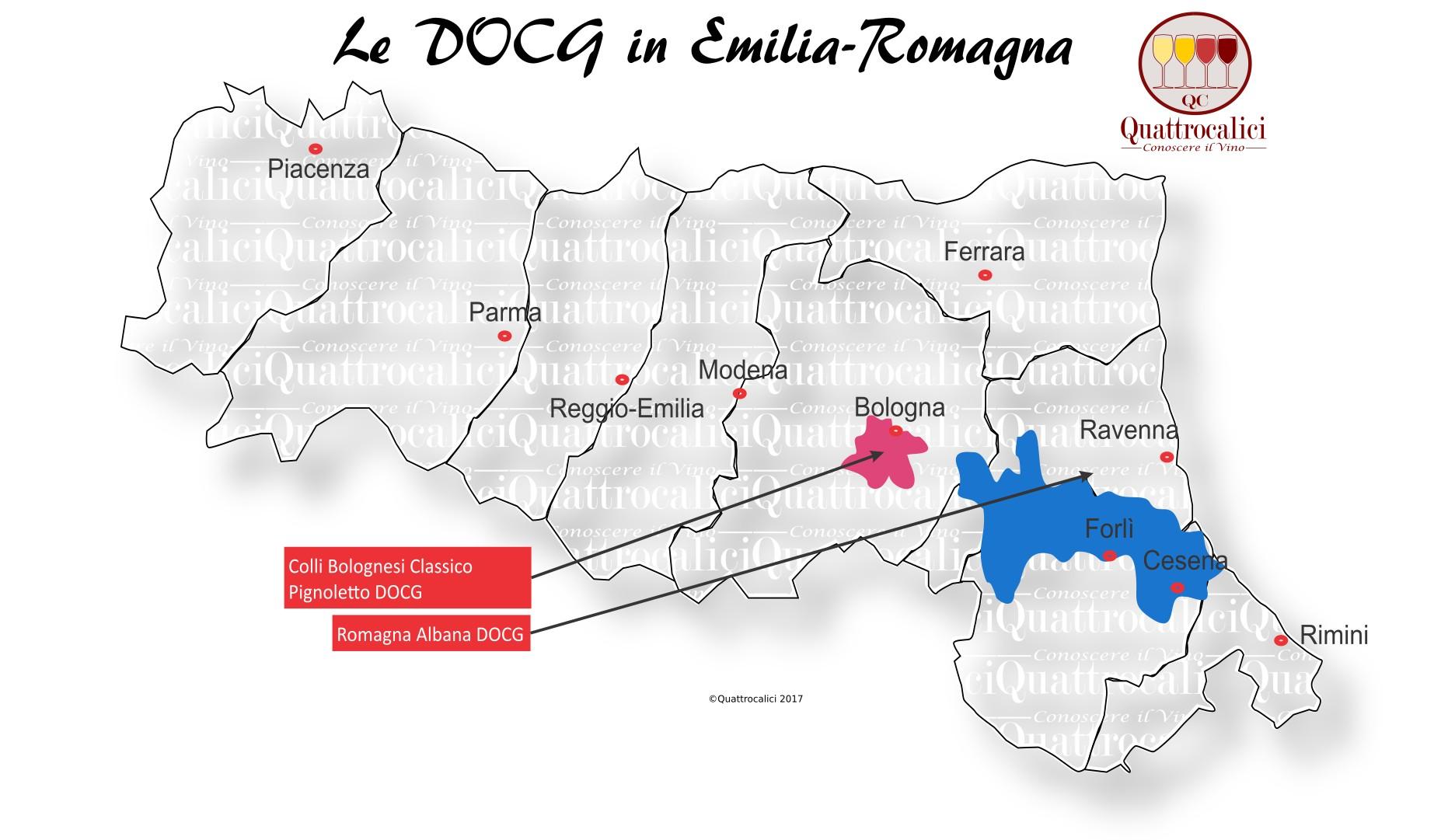 Mappa Denominazioni DOCG Le Denominazioni di Origine in Emilia-Romagna