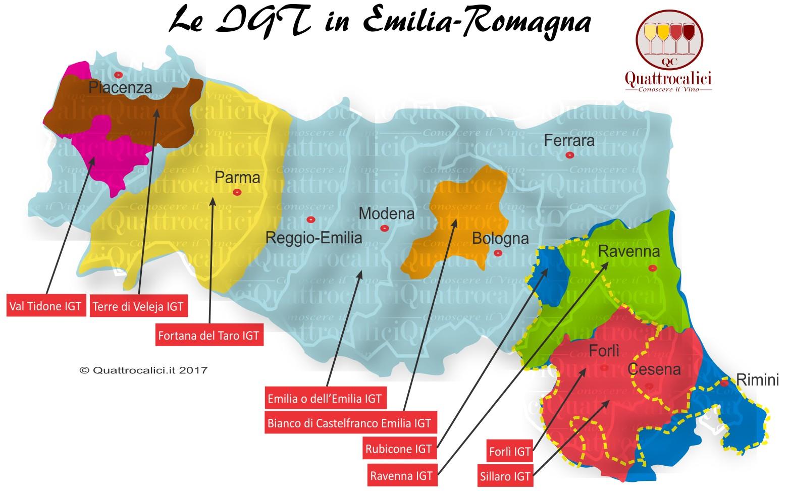Mappa Denominazioni IGT Le Denominazioni di Origine in Emilia-Romagna