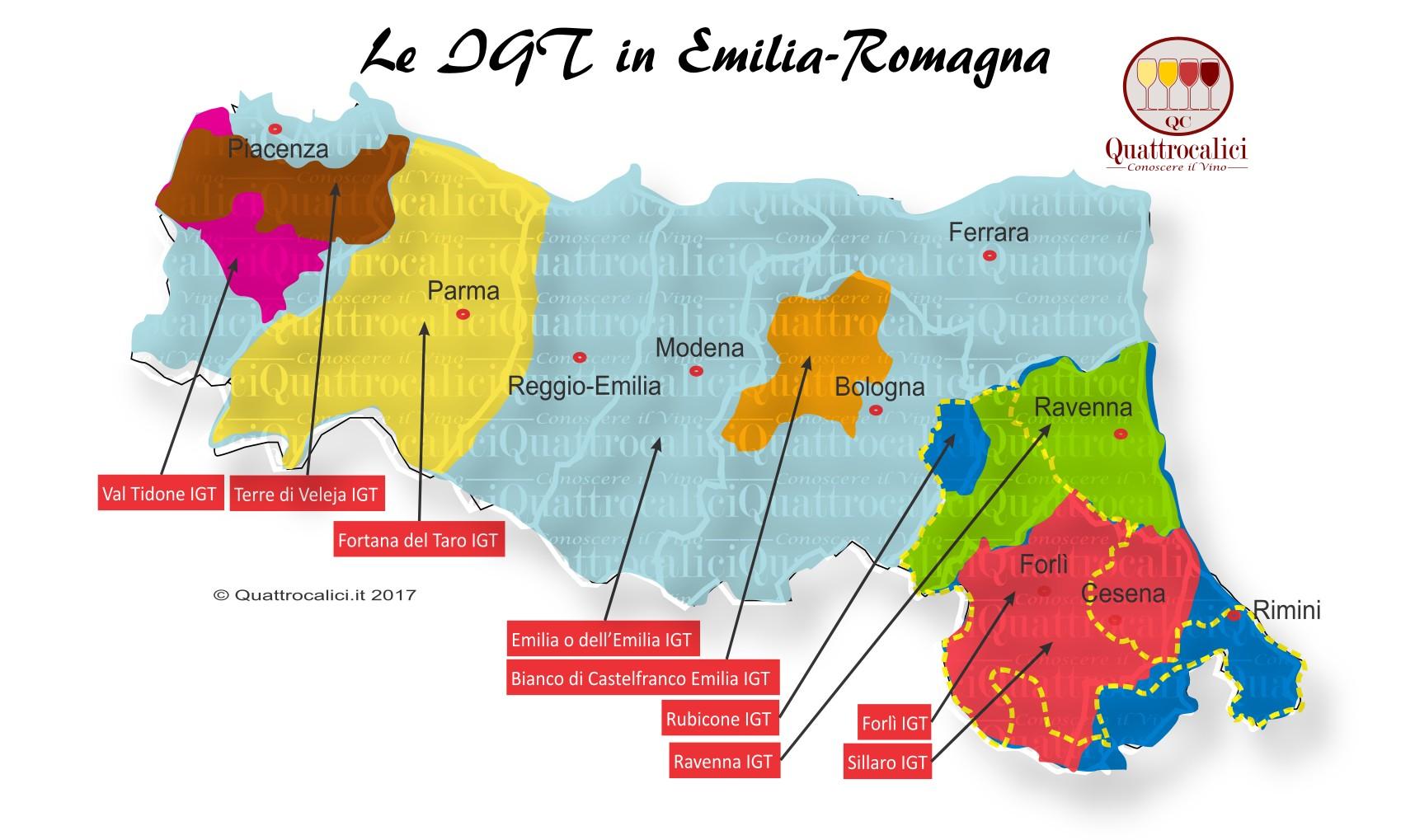 Mappa Denominzioni IGT Emilia-Romagna