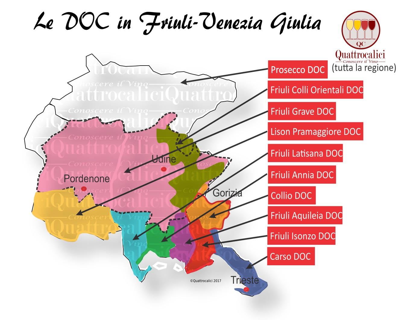 Mappa Denominazioni DOC Le Denominazioni di Origine in Friuli-Venezia Giulia