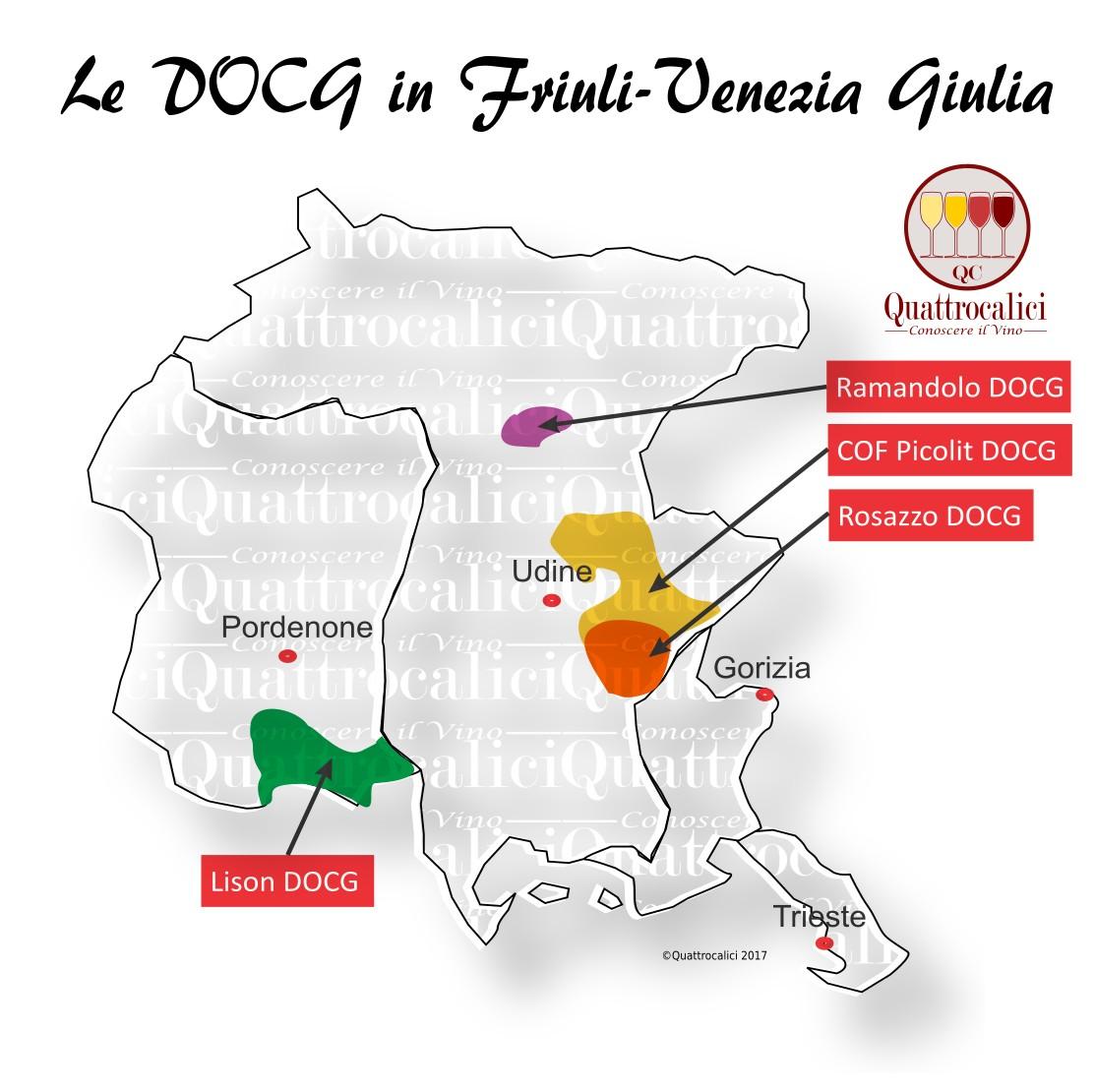 Mappa Denominazioni DOCG Le Denominazioni di Origine in Friuli-Venezia Giulia