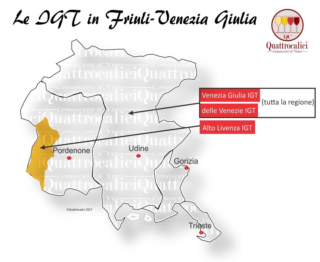 Mappa Denominazioni IGT Le Denominazioni di Origine in Friuli-Venezia Giulia