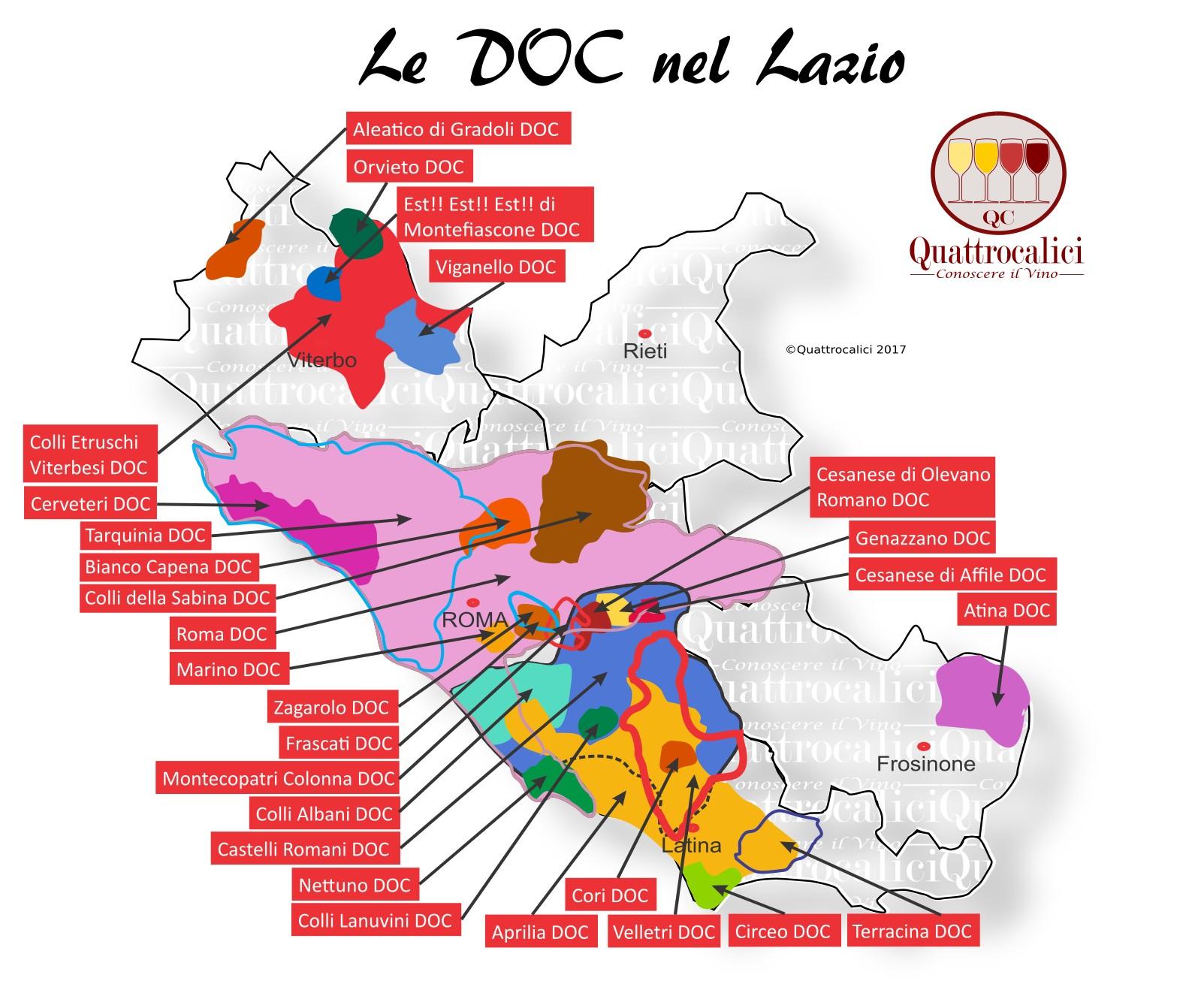 Mappa Denominzioni DOC Lazio