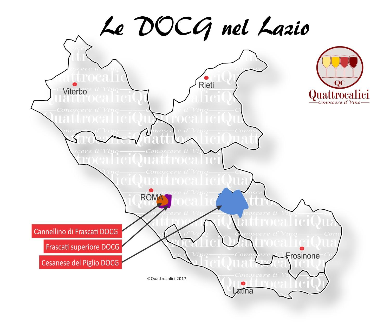 Mappa Denominzioni DOCG Lazio