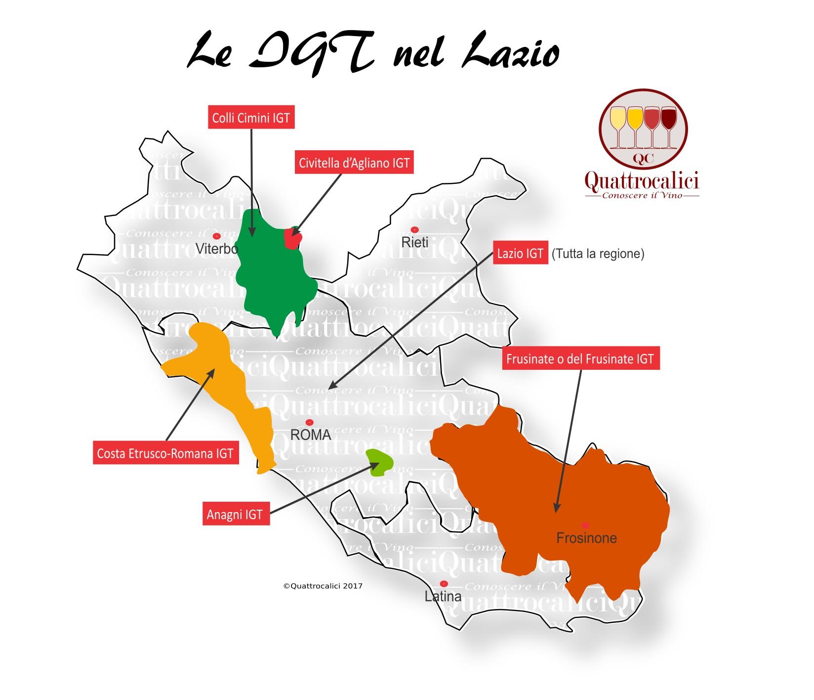 Mappa Denominzioni IGT Lazio