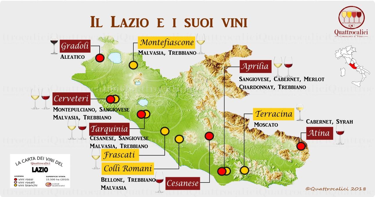 Cartina Del Lazio Con Comuni.Lazio La Guida Al Vino E All Enoturismo Di Quattrocalici