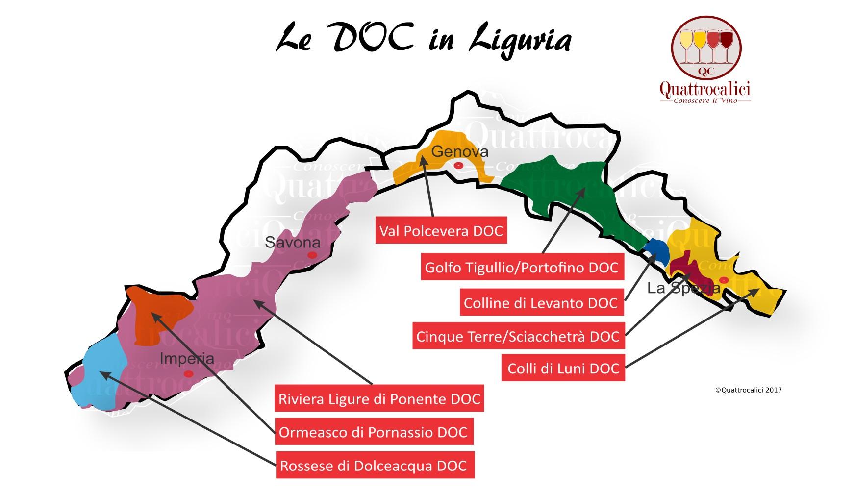 Mappa Denominzioni DOC Liguria