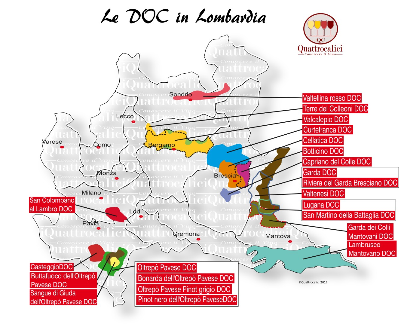Mappa Denominazioni DOC Le Denominazioni di Origine in Lombardia