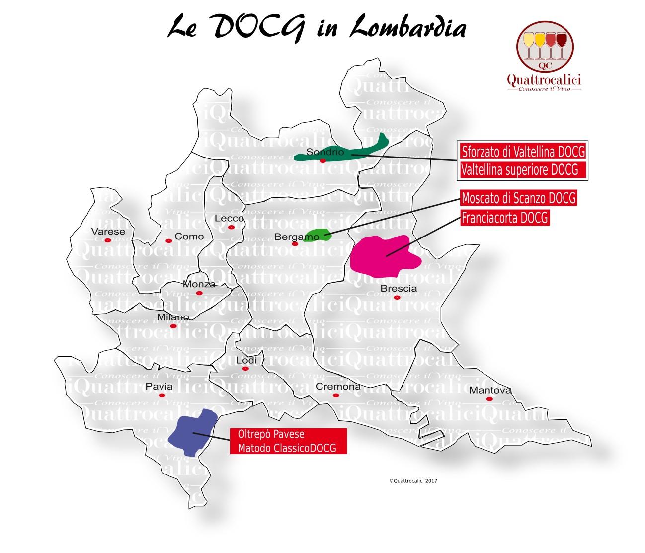 Mappa Denominazioni DOCG Le Denominazioni di Origine in Lombardia