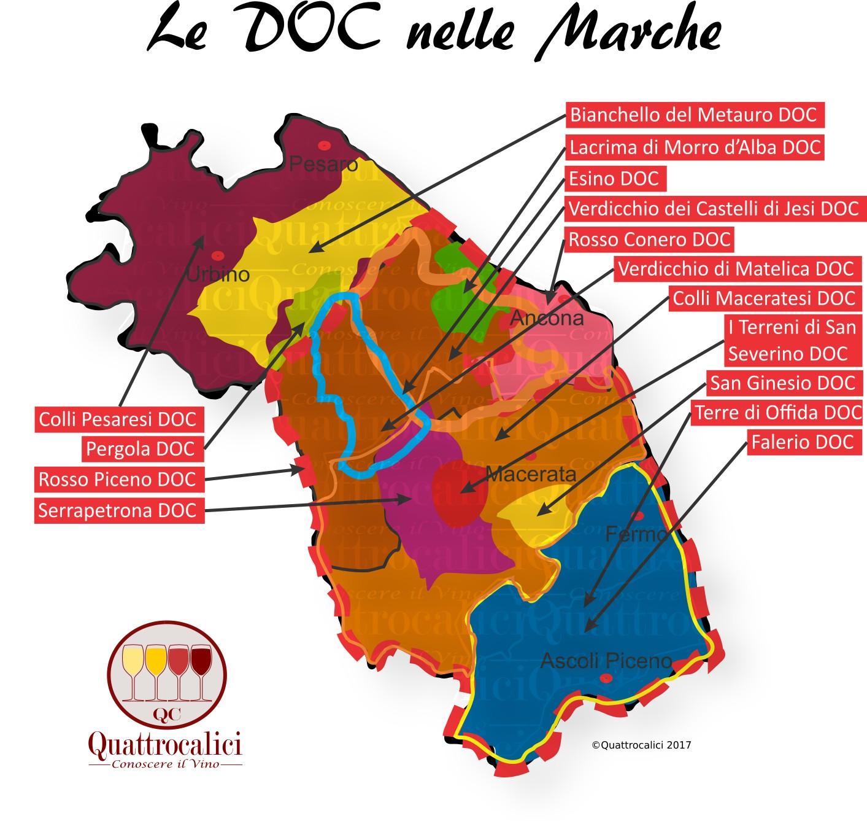 Mappa Denominazioni DOC Le Denominazioni di Origine nelle Marche