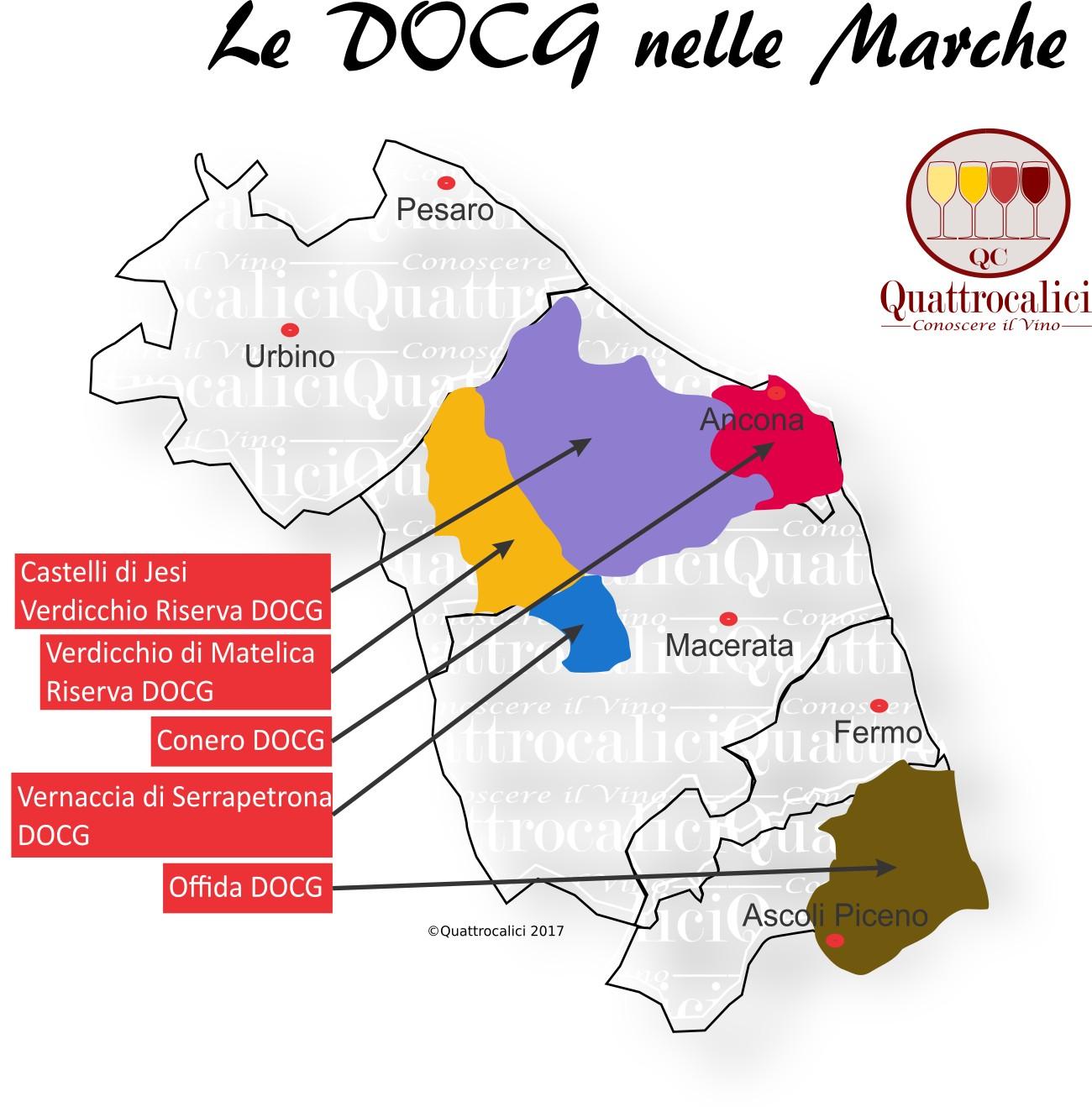 Mappa Denominazioni DOCG Le Denominazioni di Origine nelle Marche