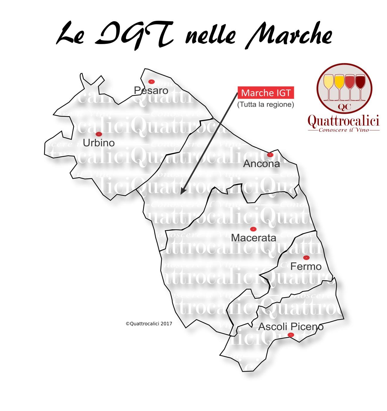 Mappa Denominazioni IGT Le Denominazioni di Origine nelle Marche