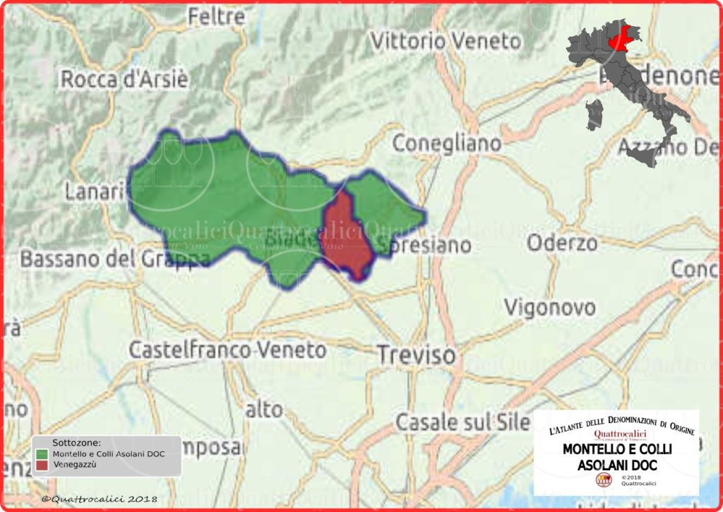 Cartina Montello e Colli Asolani DOC