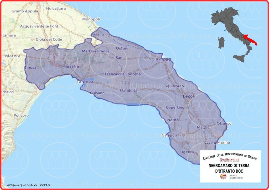 Negroamaro di Terra d'Otranto DOC cartina