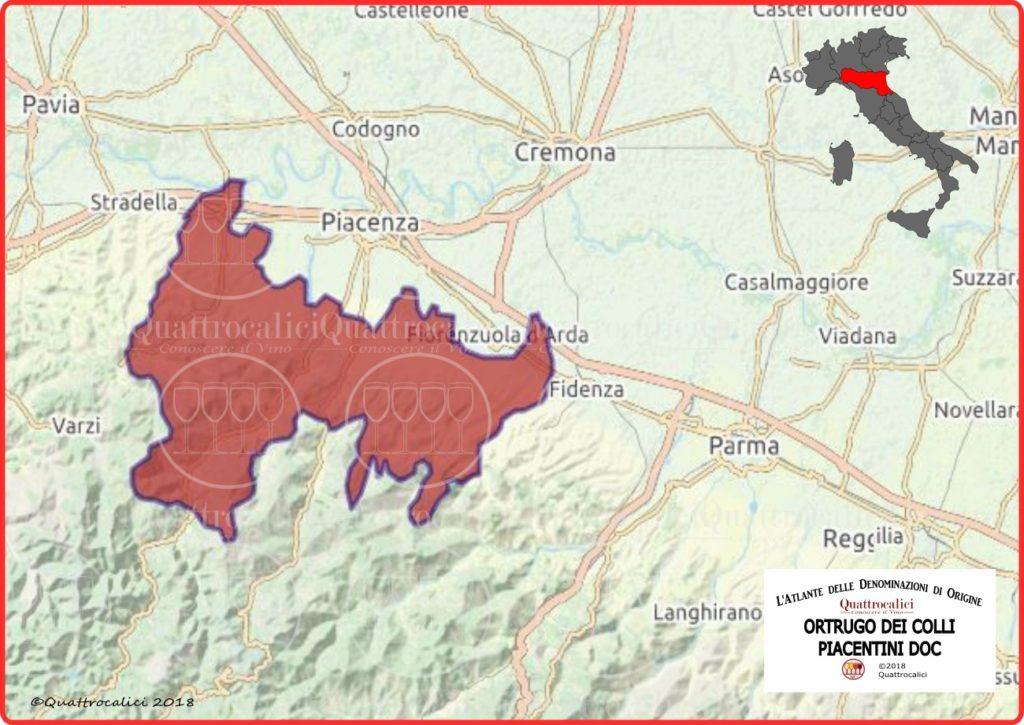 Ortrugo dei Colli Piacentini DOC cartina
