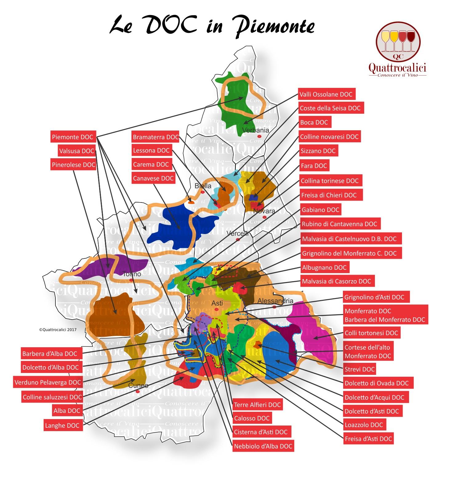Mappa Denominzioni DOC Piemonte