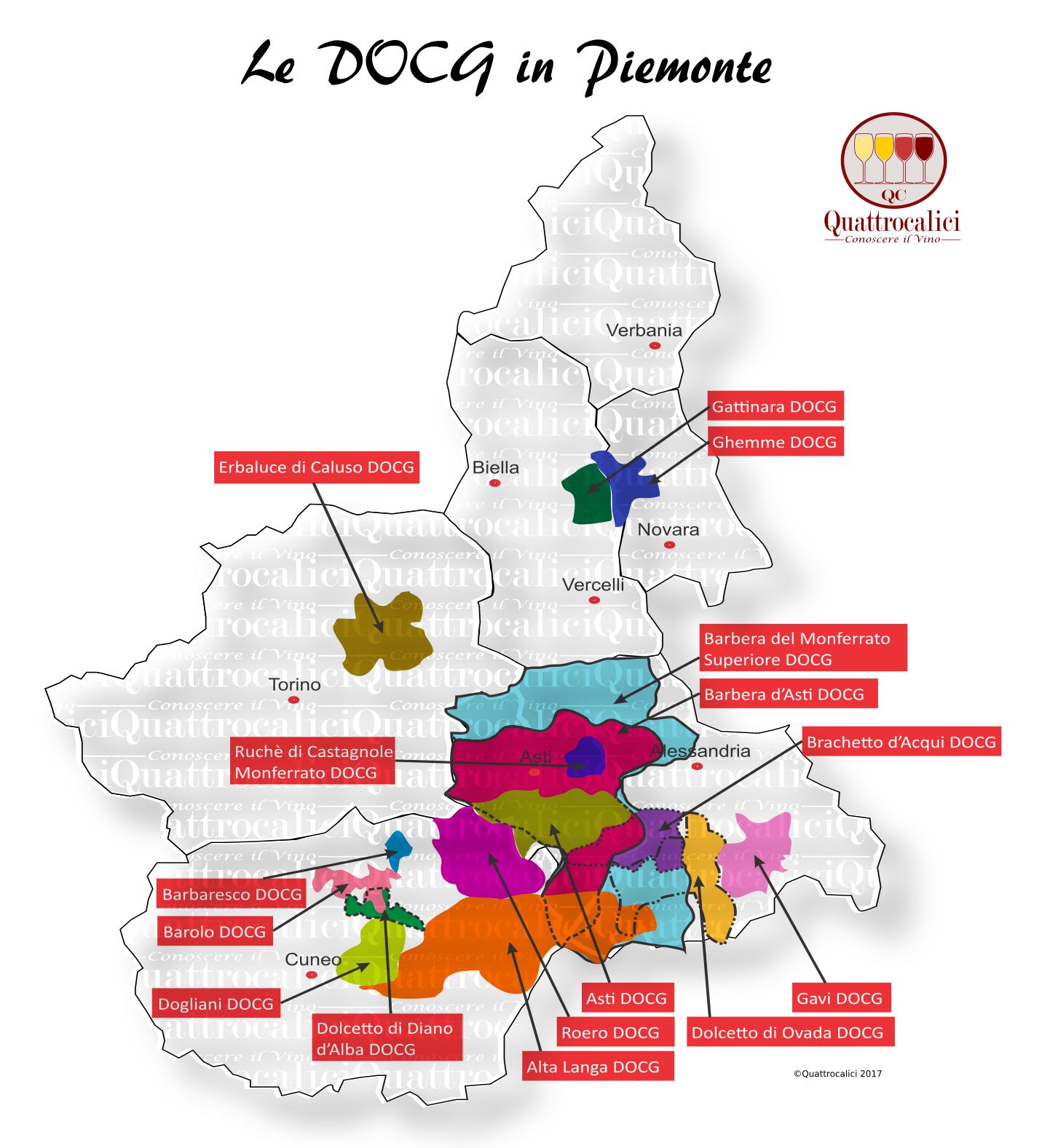 Mappa Denominzioni DOCG Piemonte