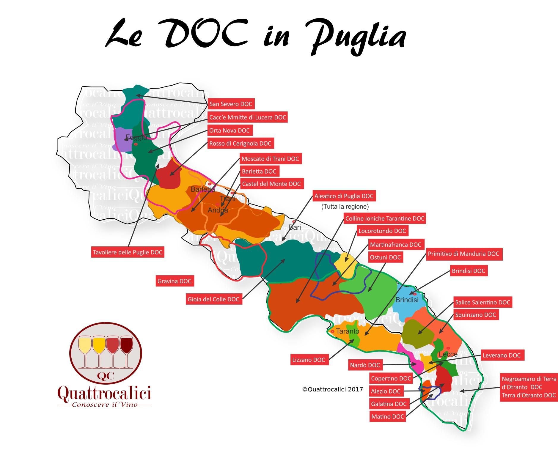 Mappa Denominazioni DOC Le Denominazioni di Origine in Puglia