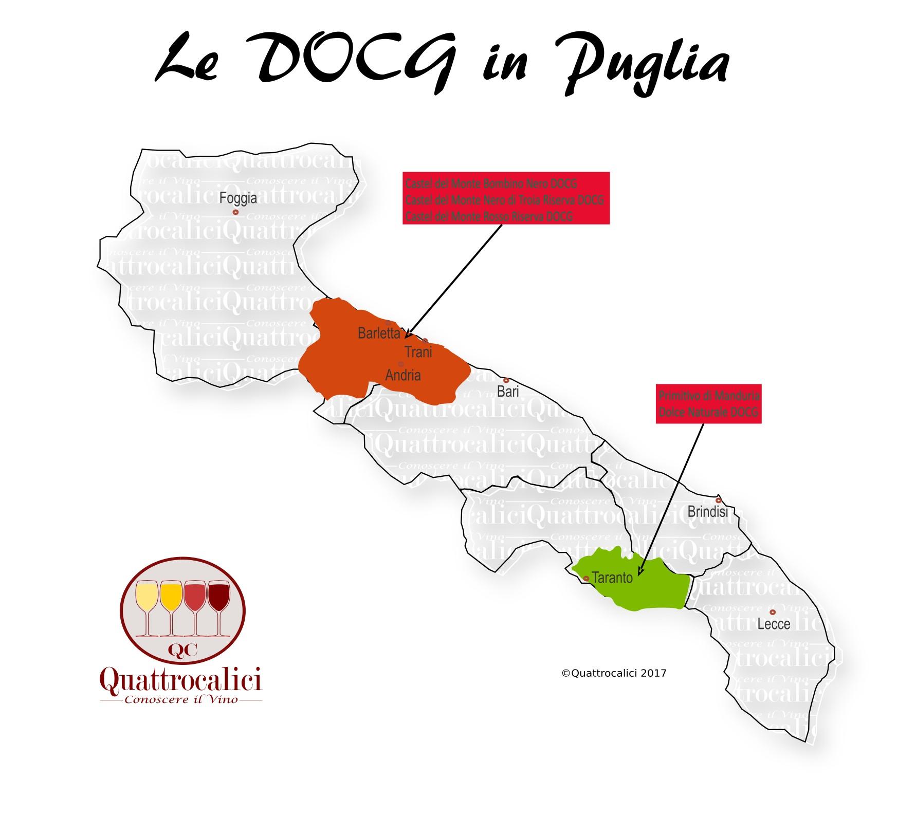 Mappa Denominazioni DOCG Le Denominazioni di Origine in Puglia