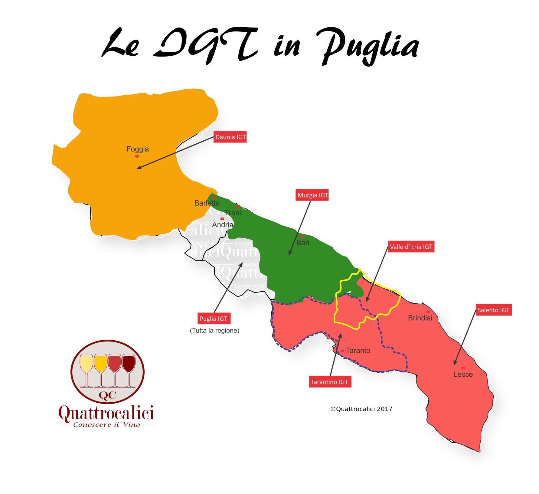 Mappa Denominazioni IGT Le Denominazioni di Origine in Puglia