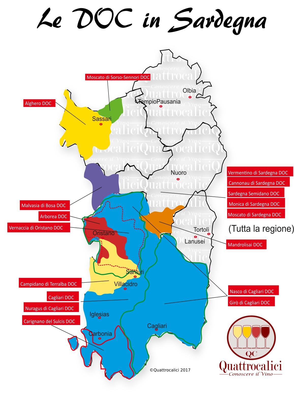 Mappa Denominzioni DOC Sardegna