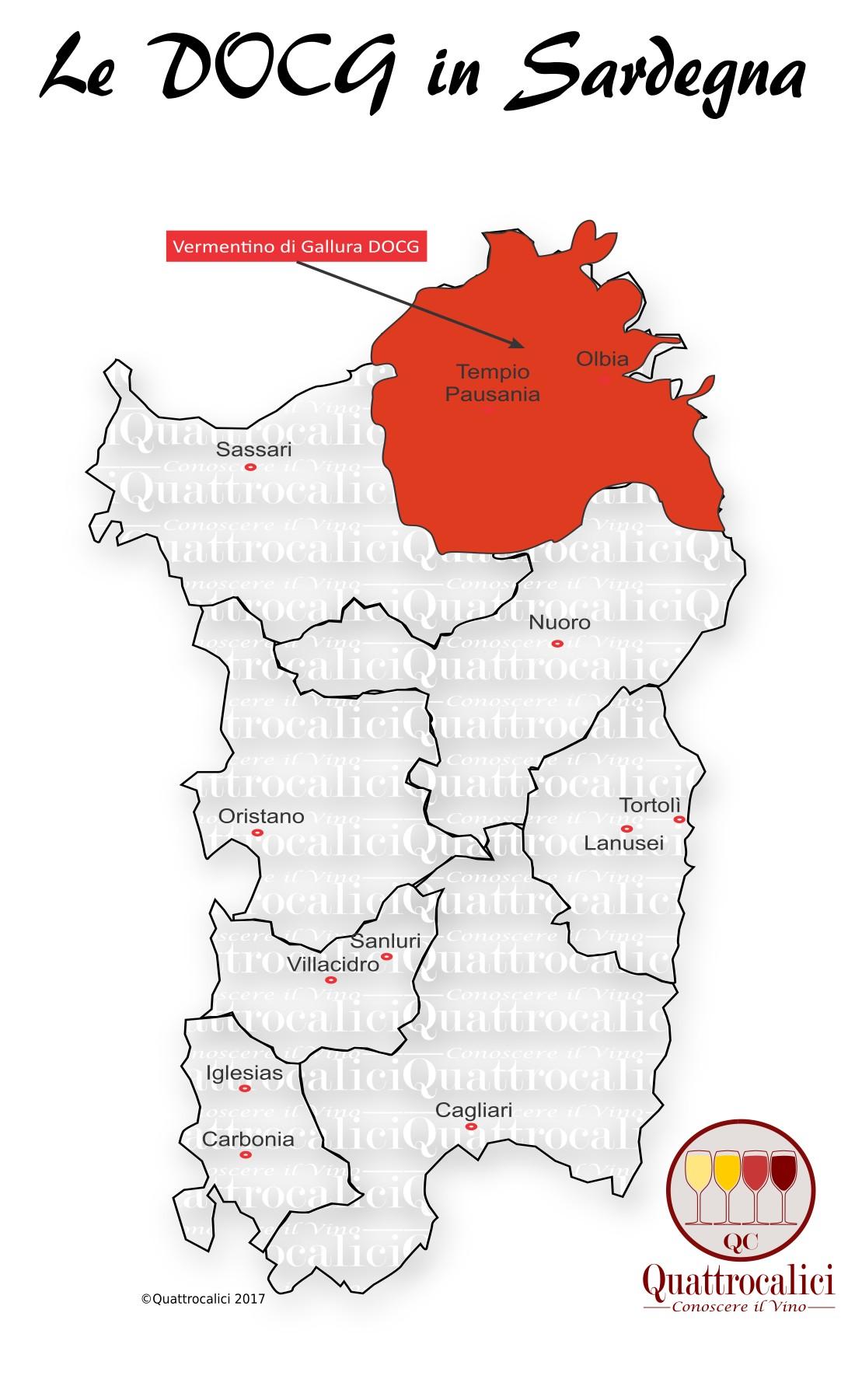 Mappa Denominzioni DOCG Sardegna