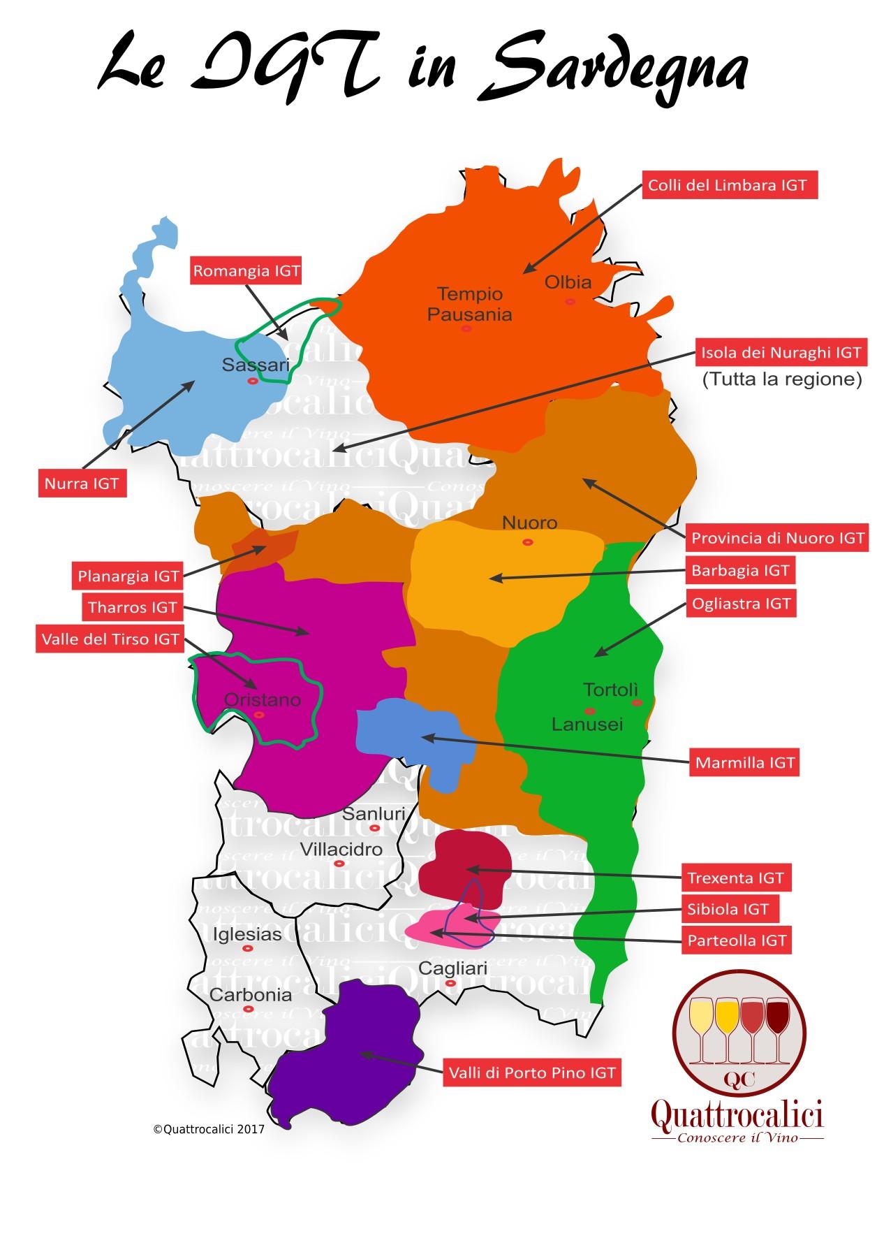 Mappa Denominzioni IGT Sardegna