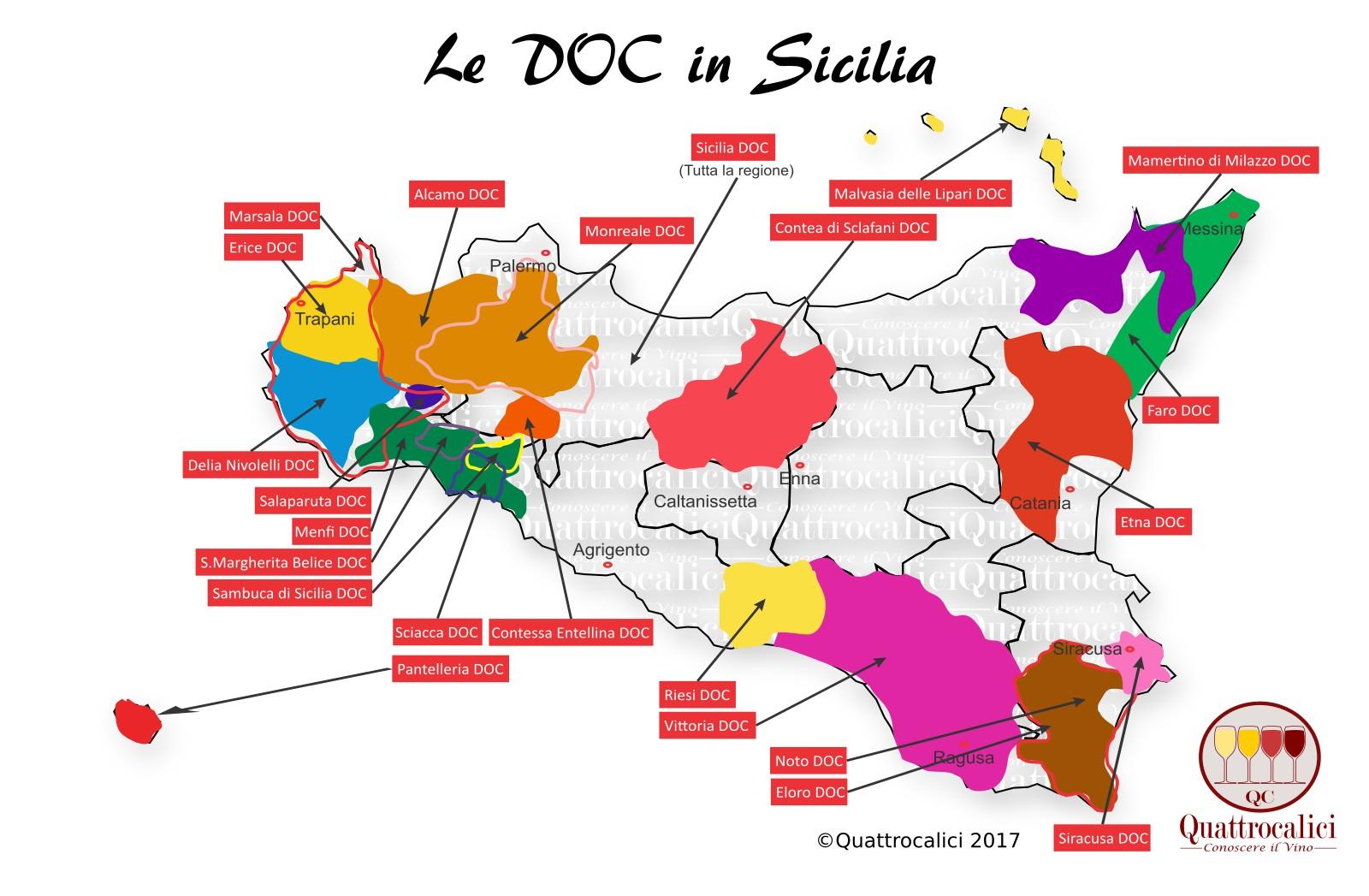 Mappa Denominazioni DOC Le Denominazioni di Origine in Sicilia