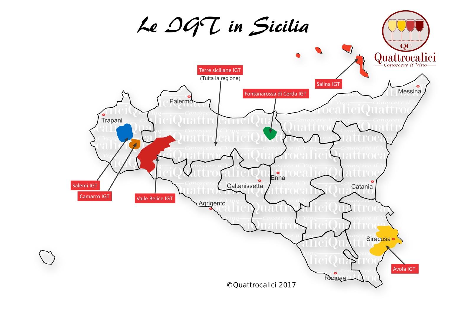 Mappa Denominazioni IGT Le Denominazioni di Origine in Sicilia