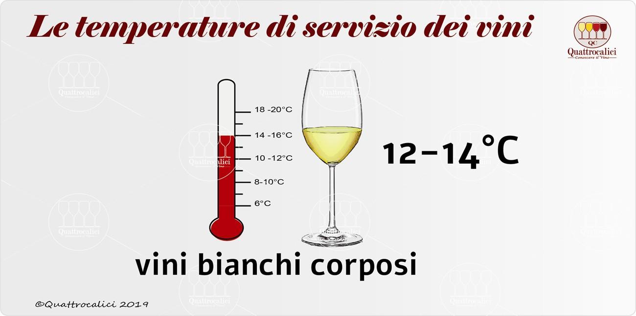 temperatura di servizio per i vini bianchi corposi