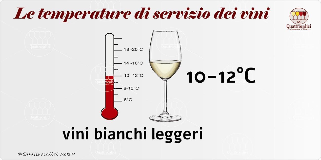 temperatura di servizio per i vini bianchi leggeri