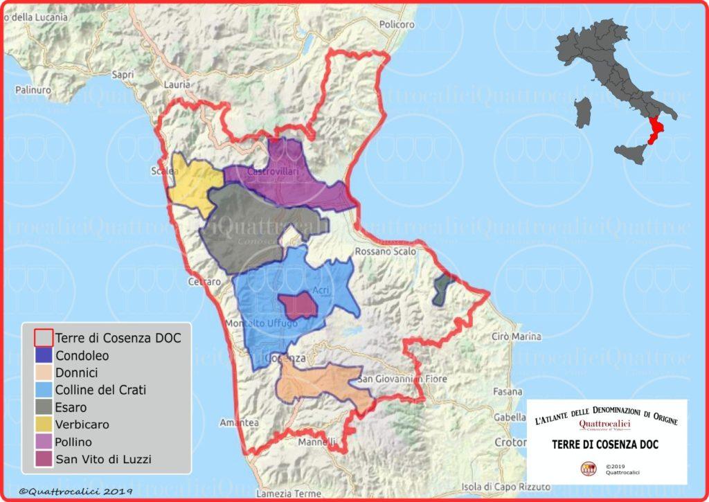 Terre di Cosenza DOC cartina