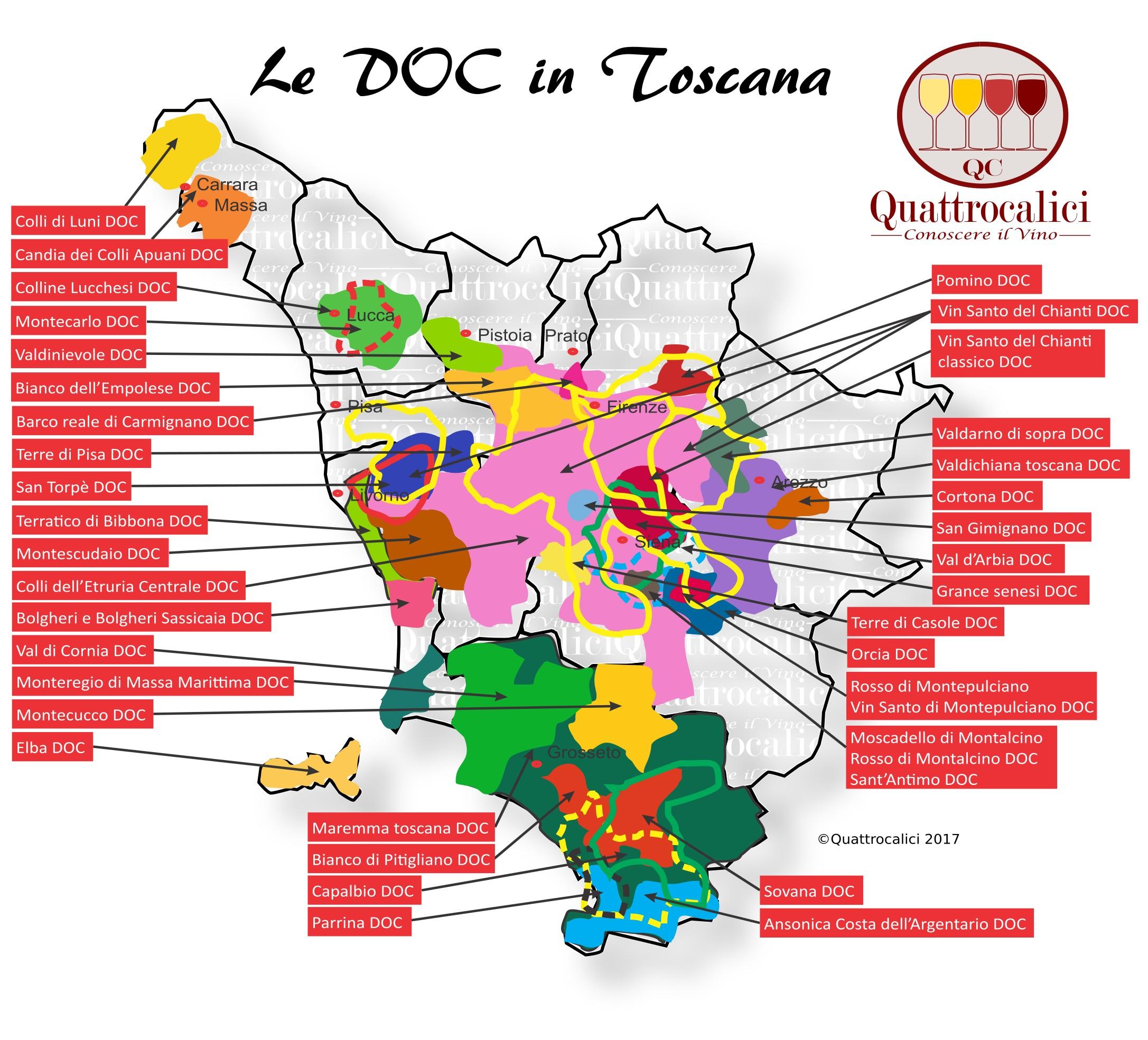 Mappa Denominzioni DOC Toscana