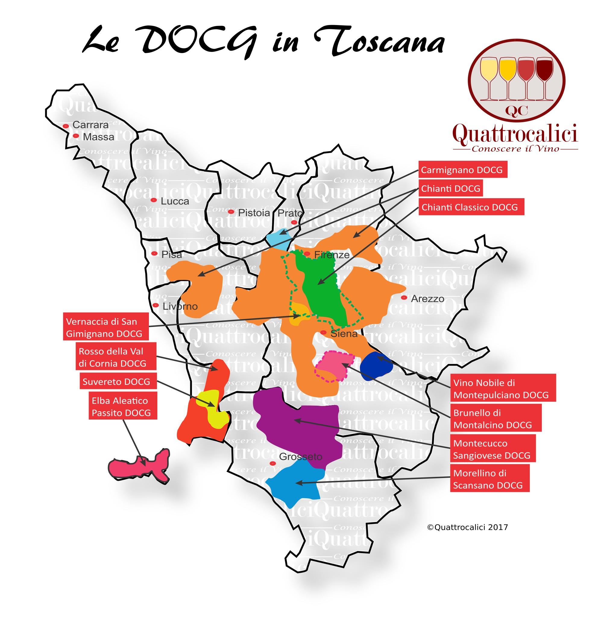 Mappa Denominzioni DOCG Toscana