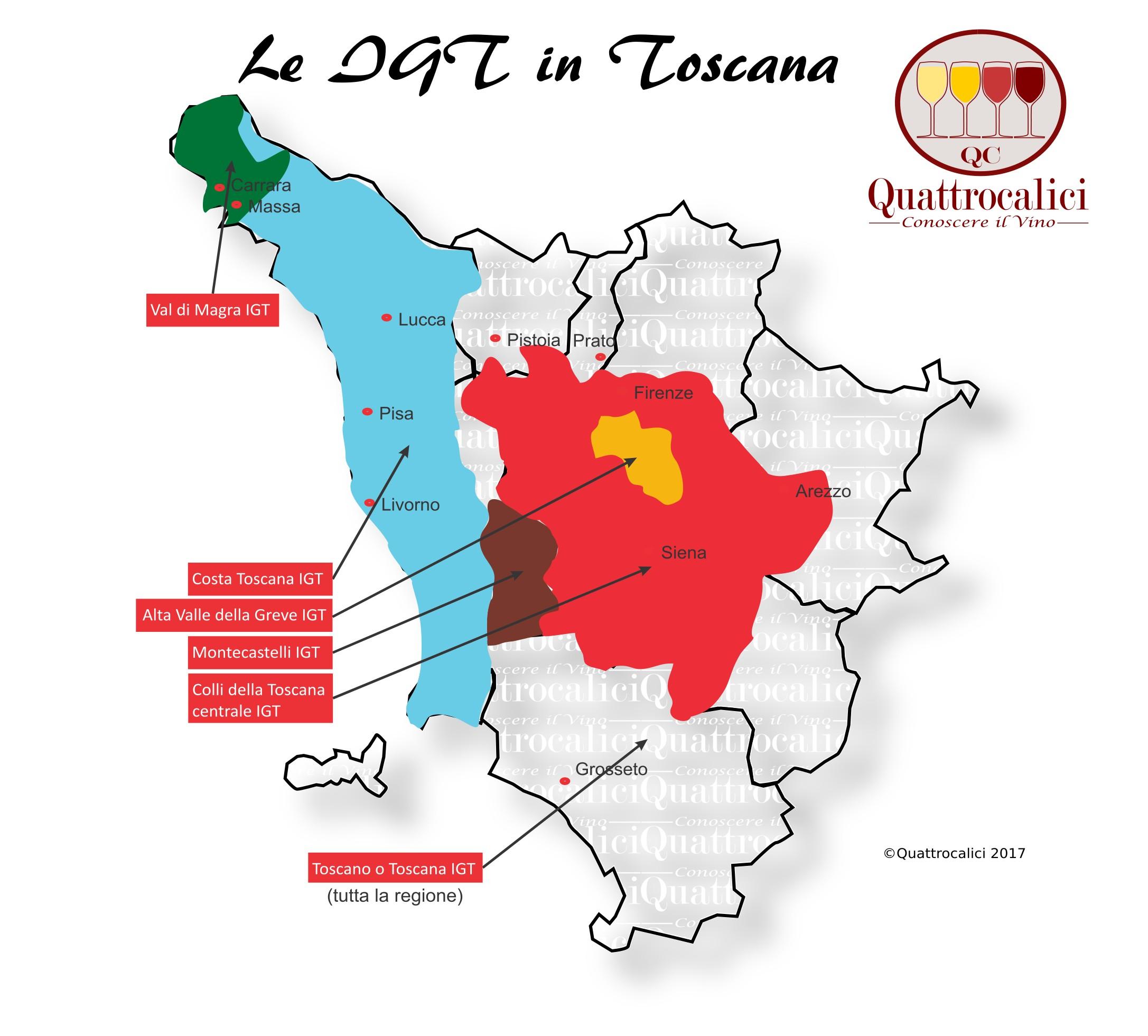 Mappa Denominzioni IGT Toscana